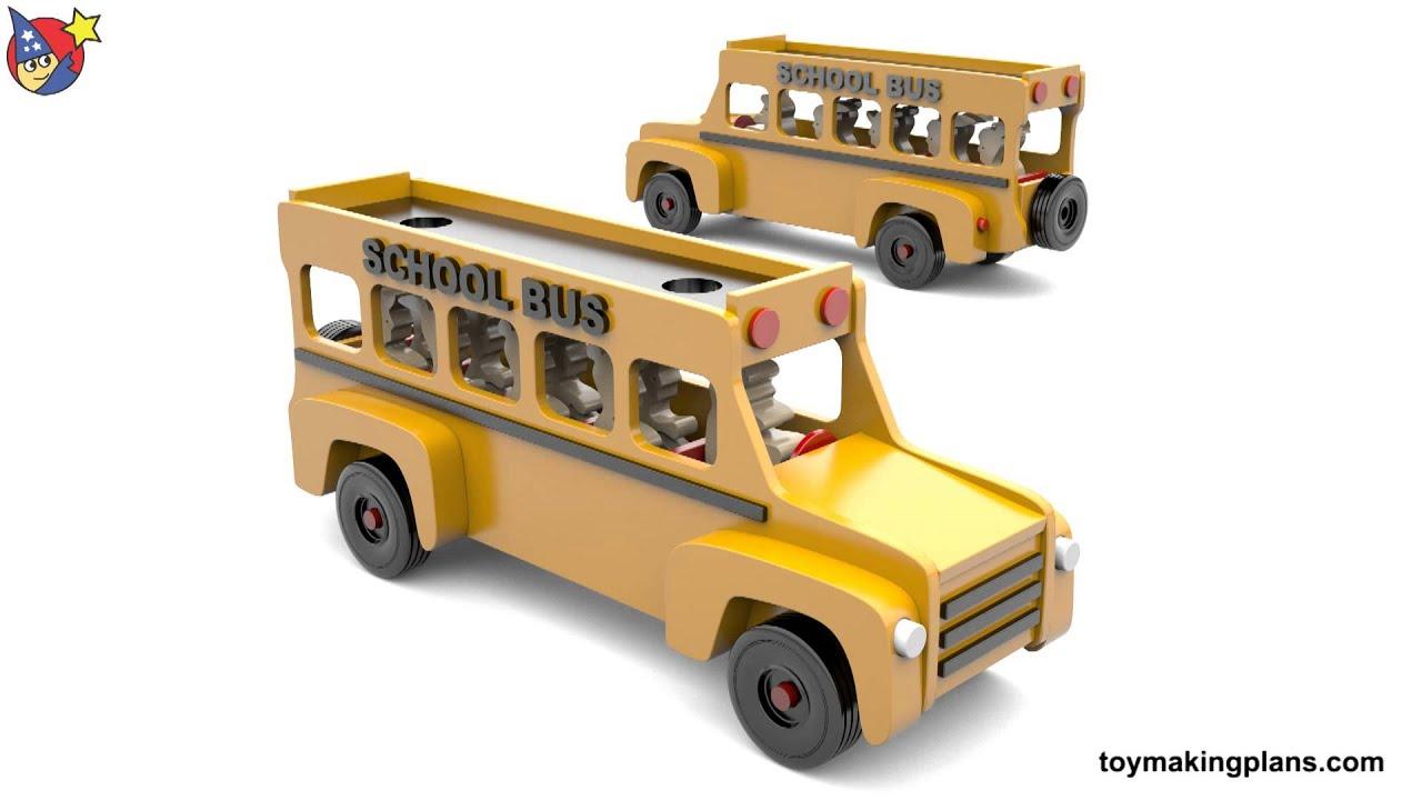 Wood Toy Plans - My Friendly School Bus - YouTube