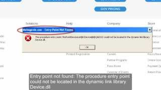 Entry point not found in the dynamic link library device.dll error