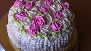 МОИ ТОРТИКИ/Свадебный торт/Украшение торта белково-заварным кремом A wedding cake