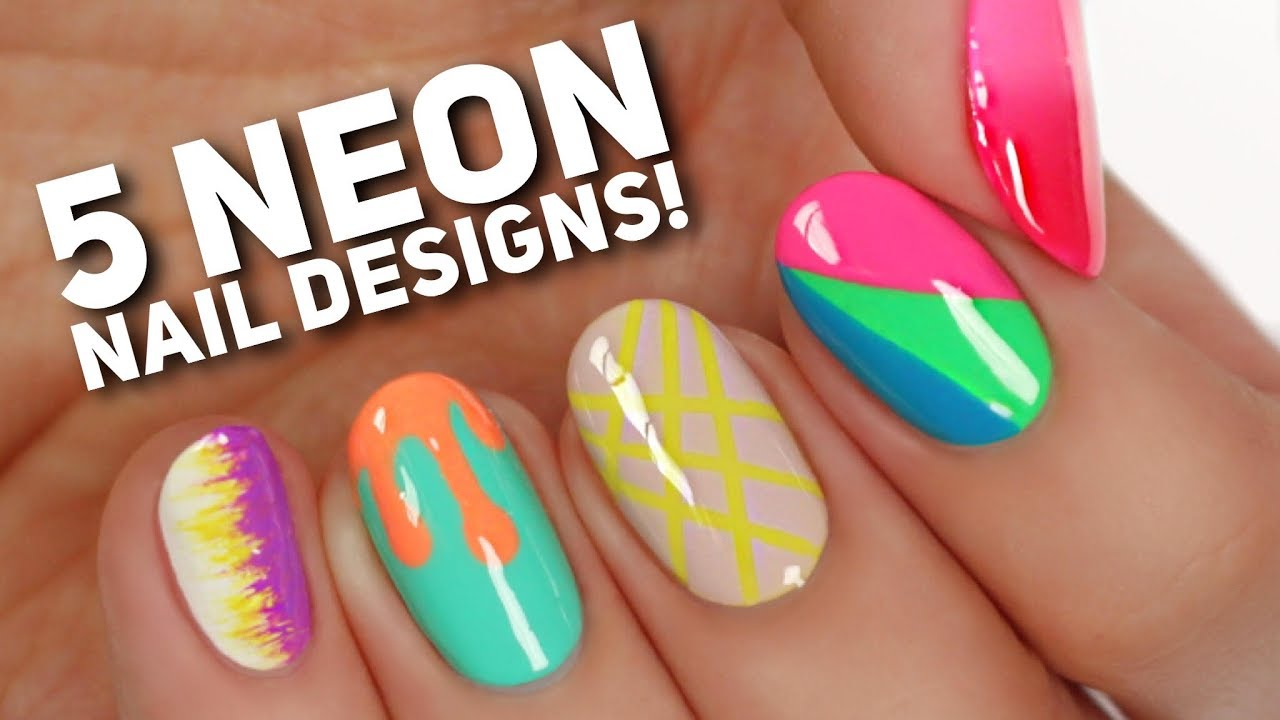 5 ways to wear neon nails summer nail art youtube 5 ways to wear neon nails summer nail art prinsesfo Choice Image