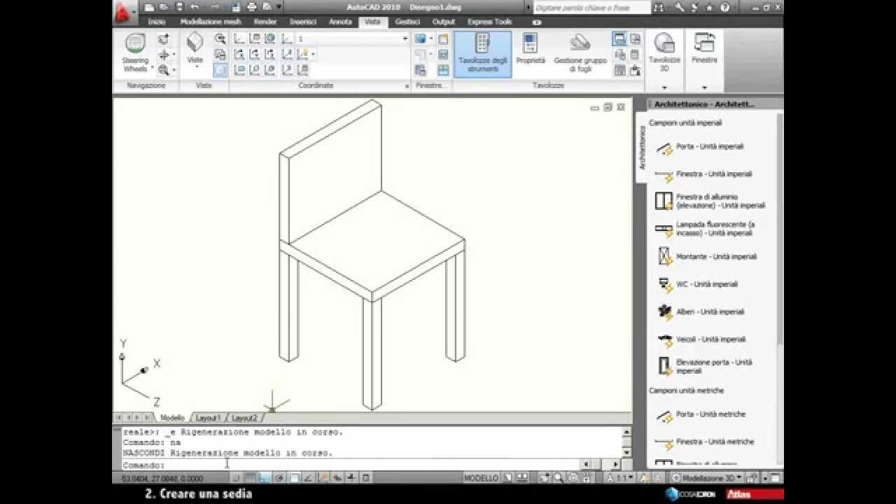 Autocad 2010 creare una sedia in assonometria 3d youtube for Fare una casa online gratis 3d
