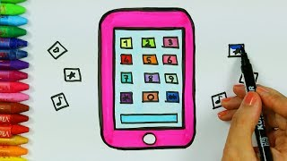 Wie zeichnet man Mobiltelefon | Wie man bunt Handy zieht | Zeichnen und Ausmalen für Kinder
