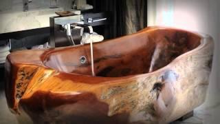 Деревянная ванна. Породыкедр, тик, дуб, грецкий орех, лиственница, а также махагон и венге.