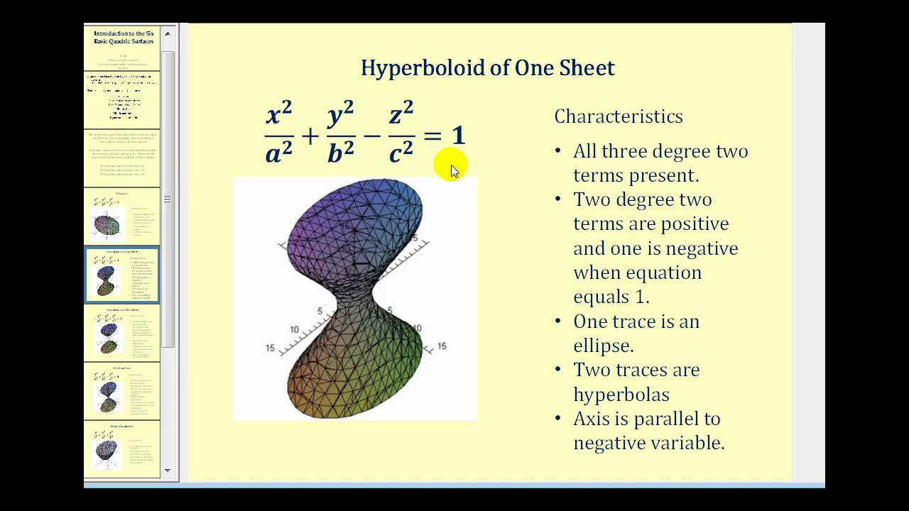 Introduction to Quadric Surfaces - YouTube