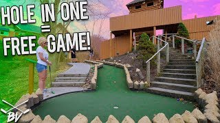 I HAVE NEVER SEEN THIS HAPPEN BEFORE PLAYING MINI GOLF! IMPOSSIBLE HOLE IN ONE!
