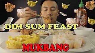 MUKBANG DIM SUM/YUMCHA FEAST- FRIED WONTON DUMPLINGS PRAWN HARGOW PRAWN ROLLS-BIG BITES!