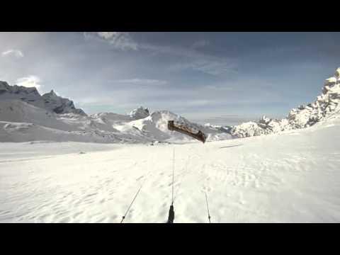 Snowkite flysurfer speed 3, 19m, Anzeindaz, Pas de Cheville, Switzerland.