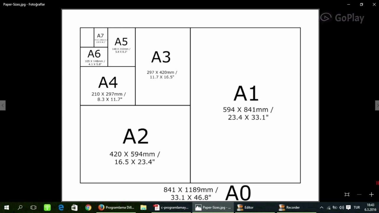 a0 a1 a2 a3 a4 a5 a6 a7 ve a8 ka t boyutlar youtube. Black Bedroom Furniture Sets. Home Design Ideas