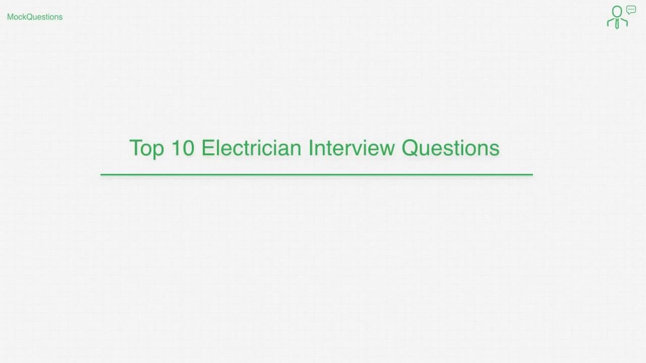 Electrician Interview Questions - YouTube