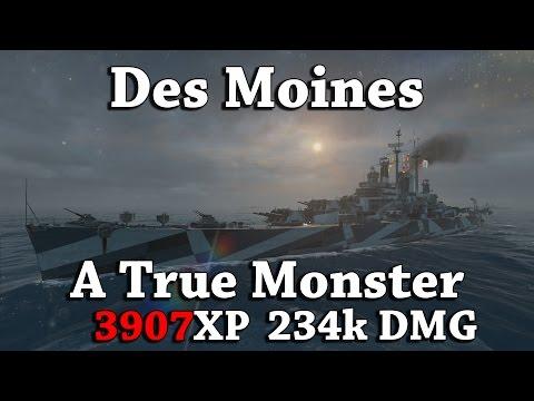 WoWS: Des Moines - A True Monster [3907XP]