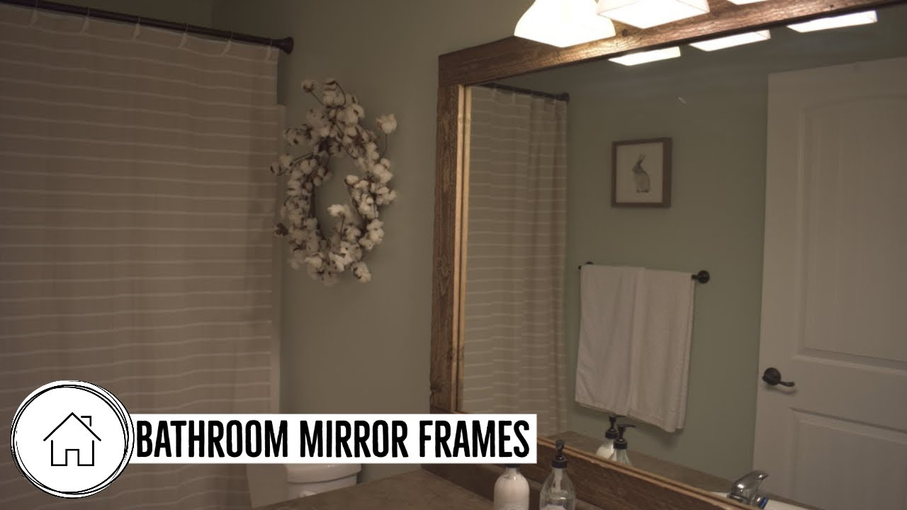 How To Install A Bathroom Mirror Frame Reclaimed Wood Youtube