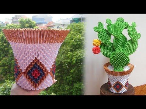 3D Origami Cactus Pot Tutorial   DIY Paper Cactus Pot Home Decoration
