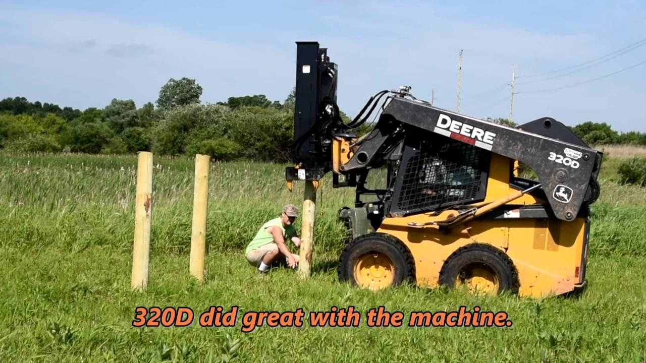 Fastest Skidsteer Fence Post Hammer Driver Youtube
