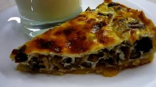 Открытый Пирог с грибами - это вкусно и просто!