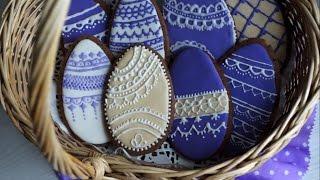 Мастер класс по росписи пряников. Пасхальные яйца из пряничного теста  Easter decorating DIY