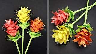 How to Make Beautiful Paper Stick Flower (Siam Tulip) | Making Paper Flowers Step by Step