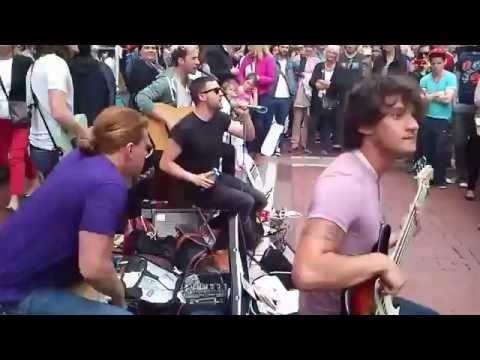 "Irish Band ""Keywest"" busking an amazing original song  ""Cold hands"""