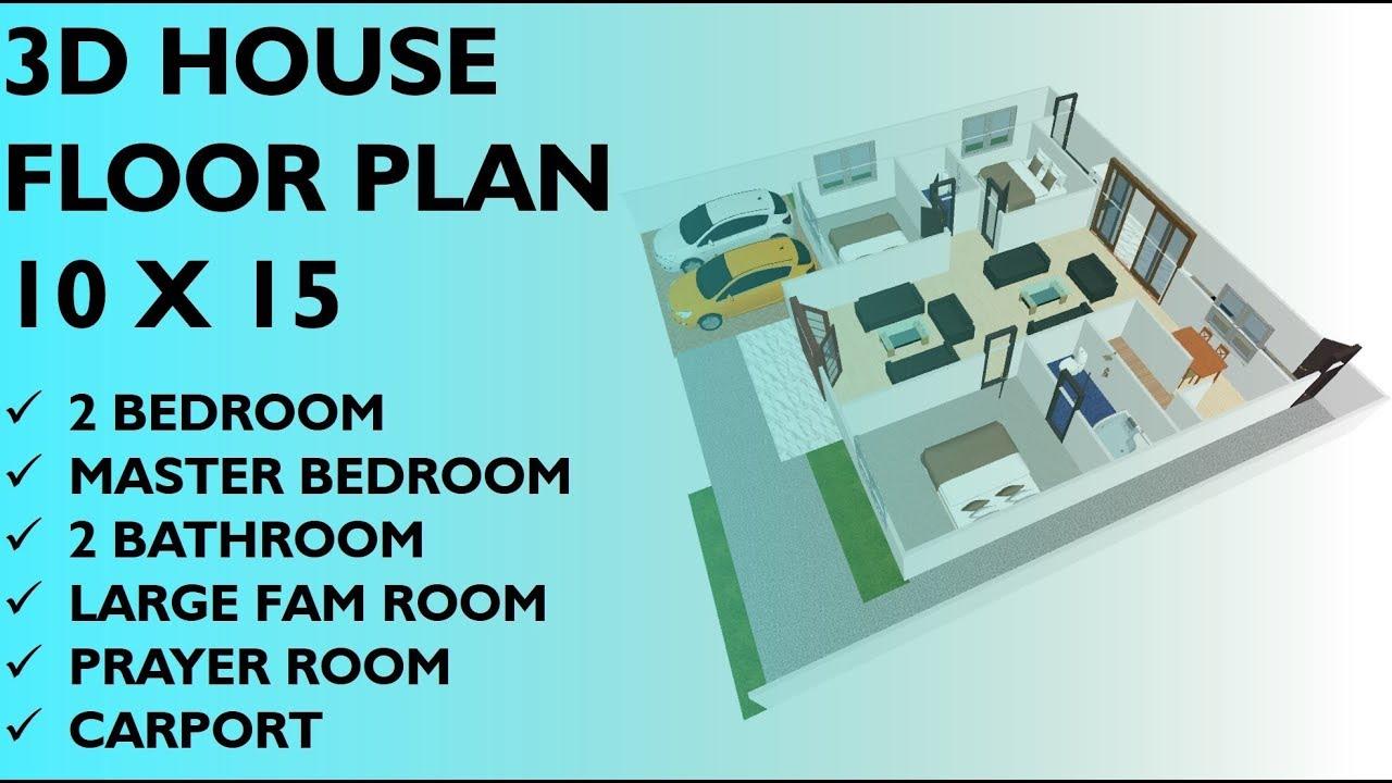 10 X 15 Modern Minimalist Home With 3 Bedroom 3d House Floor Plan Youtube