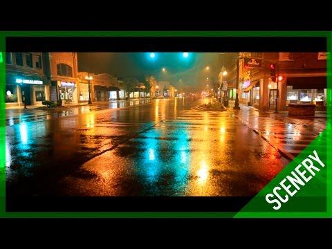 Rainy Downtown Geneva, IL at Night