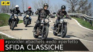 Test 2018 Ducati Scrambler Moto Guzzi V7 Triumph Bonneville Yamaha XSR ENGLISH SUB