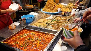 spicy rice cake, fried food, fish cake - korean street food