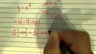 logarithmic differentiation derivative y x 1 x