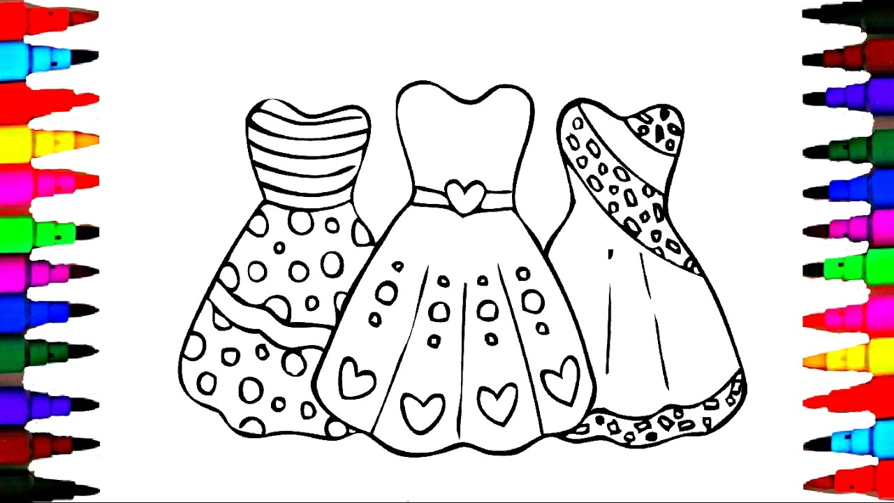 how to draw girls barbie dress coloring pages videos for kids with rainbow colored markers