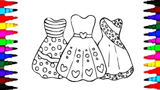 How To Draw Girls BARBIE Dress - Coloring Pages Videos for Kids with Rainbow Colored Markers