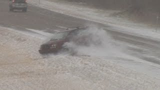 Interstate 64 Icy Slides and Spinouts - Shiloh, Illinois