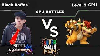Smash Wii U Black Koffee(Donkey Kong) vs Level 9 CPU(Bowser)