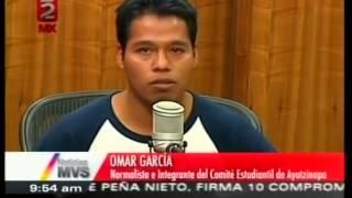Omar García; sobreviviente de Ayotzinapa, en entrevista con Carmen Aristegui.