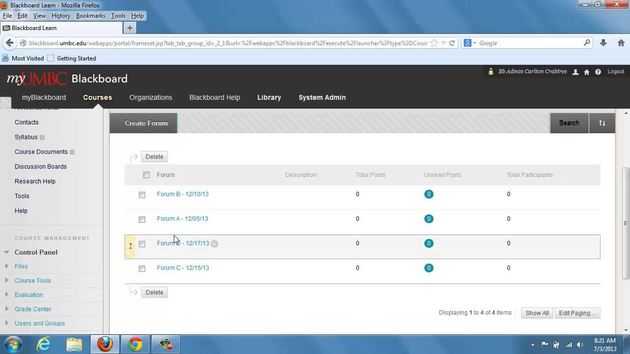 Blackboard - Rearrange the order of my discussion board forums
