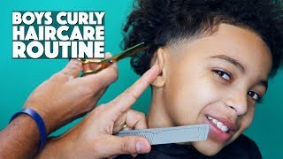 BOYS UPDATED CURLY HAIRCARE ROUTINE   HAIRCUT & STYLE