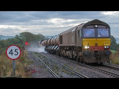 DRS 66 421 and 66 425 at Skipton with Carlisle to Carlisle RHTT train + DMUs on 2nd Nov 2013