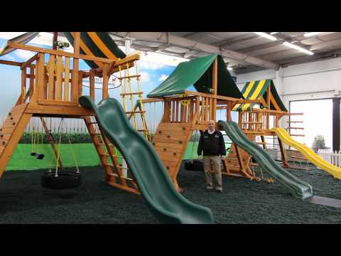 Angled-Base Wooden Playsets with Tire Swings