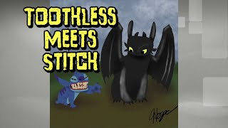 How to Train Your Dragon Toothless Meets Stitch Speed Drawing