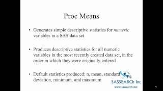 How to use SAS   Lesson 3   Descriptive Statistics
