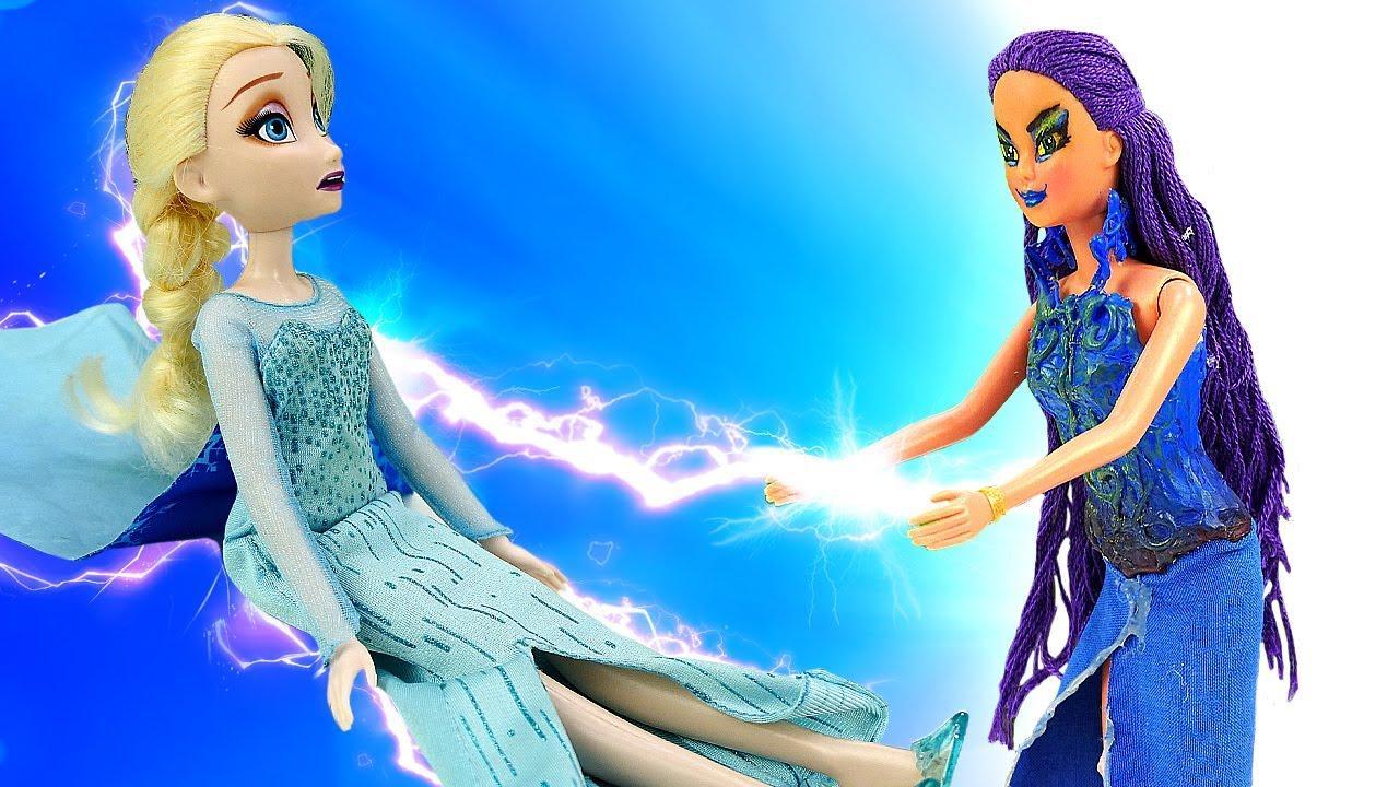 Куклы Эльза Холодное Сердце и Анна  — Видео с куклами, как злая колдунья забрала силы у Эльзы