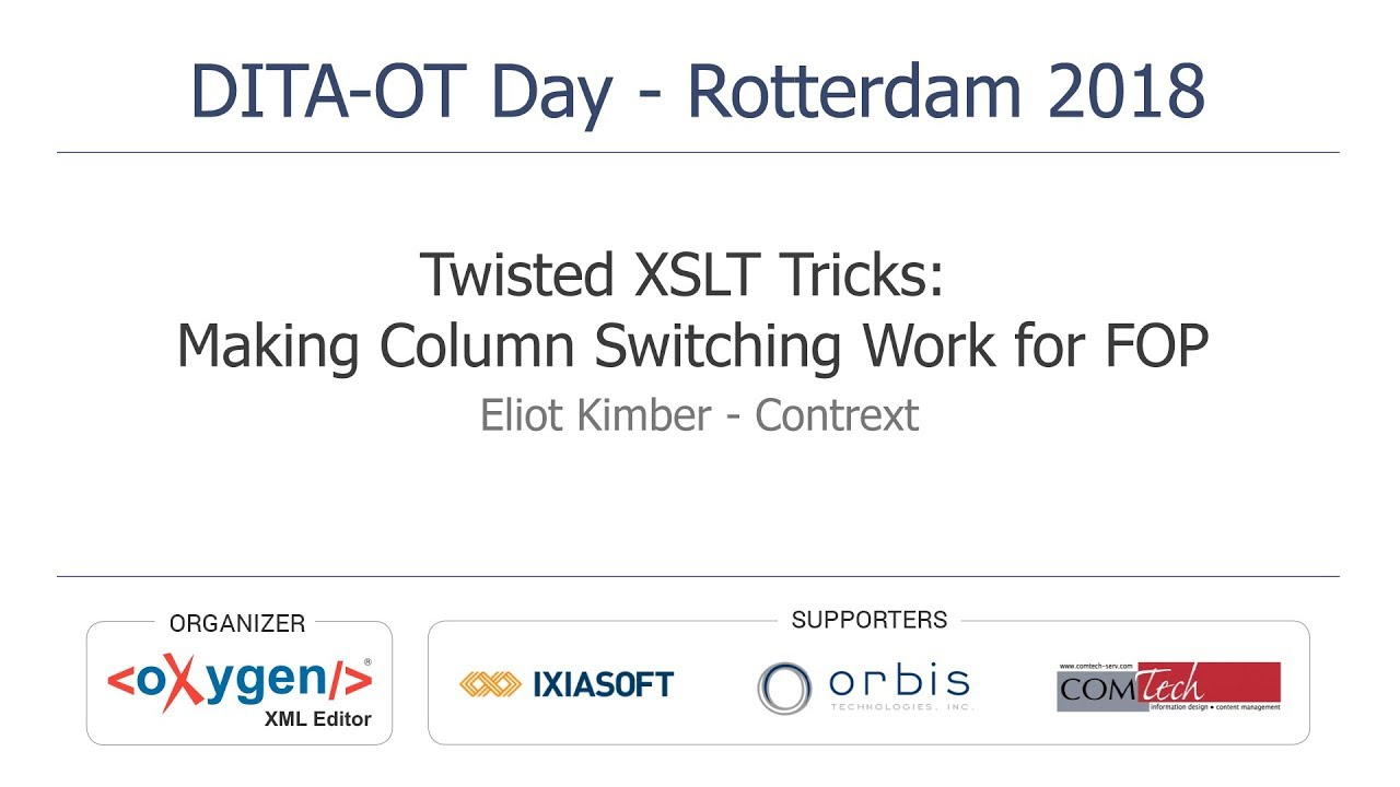 Events DITA-OT Day - Rotterdam 2018