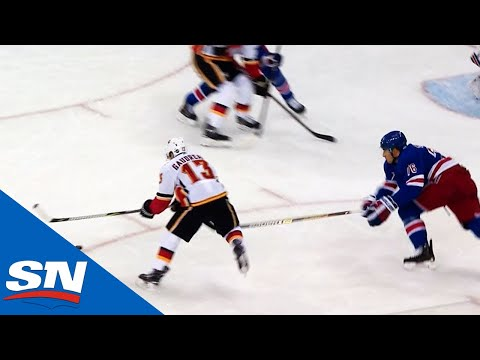 Johnny Gaudreau waits out Rangers defence to score for 300th career point
