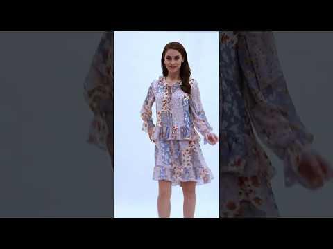 Video: Kobieca sukienka z falbankami we wzory