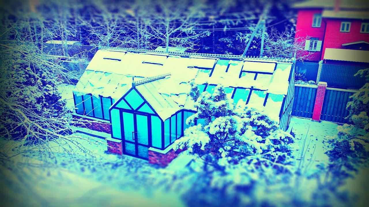 Зимняя Теплица с двумя холлами из стекла и алюминия