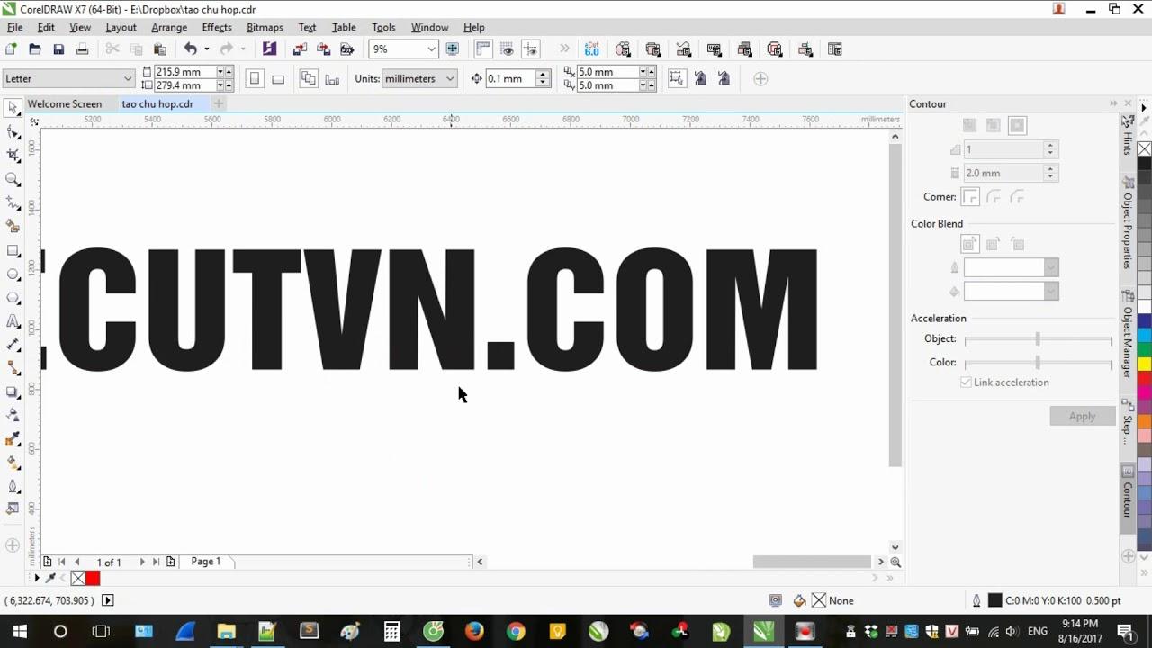 Tính chân chữ và tính LED Hắt làm chữ Hộp – CorelDraw + eCut6