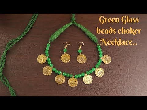 Green Glass beads Necklace and Earrings | Jewellery Making Tutorial || Ananya Mondal