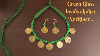 Green Glass beads Necklace and Earrings   Jewellery Making Tutorial    Ananya Mondal