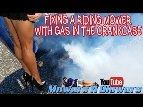 HOW TO FIX A RIDING MOWER THAT SMOKES & STALLS CRANKCASE FILLED WITH GAS CARBURETOR CLEAN OIL CHANGE