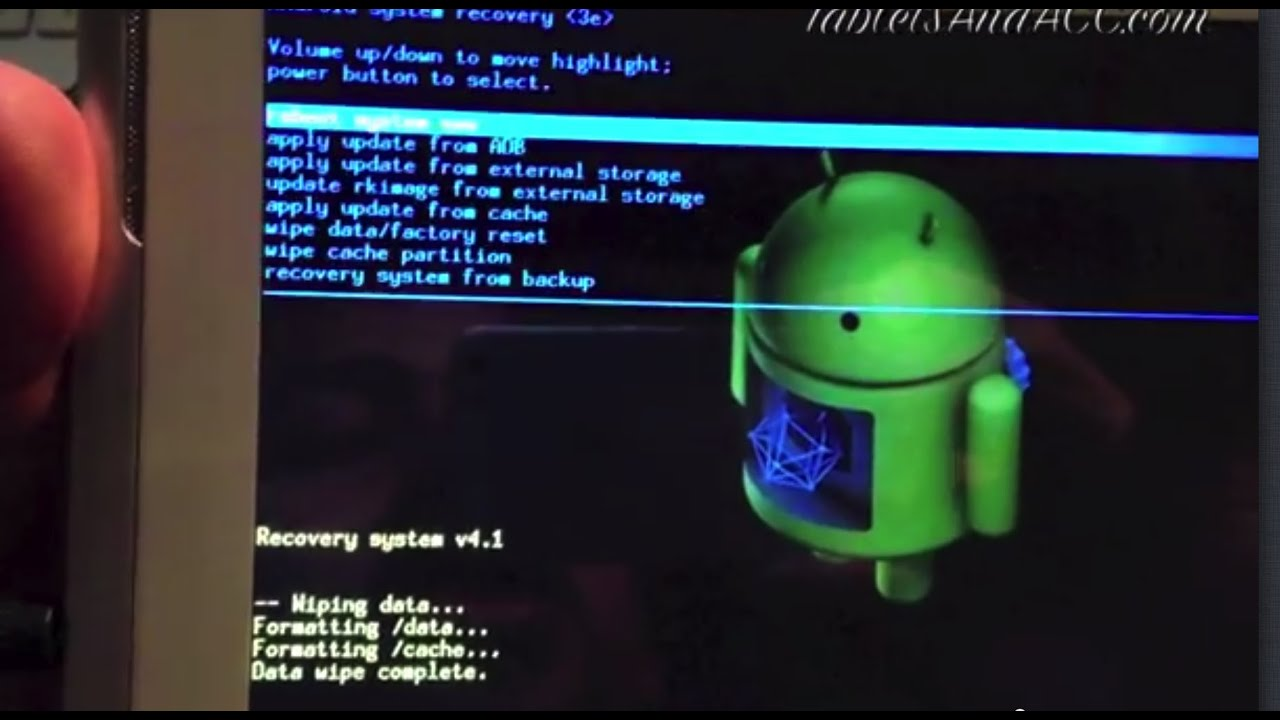 Android tablet pc hard reset reboot - YouTube
