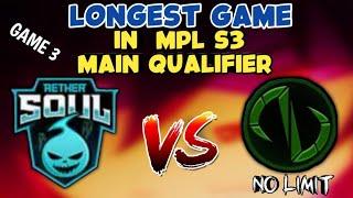 Ibang klase to!! Aether Soul VS No Limit - MPL S3 Qualifier GAME3 - Mobile Legends Philippines