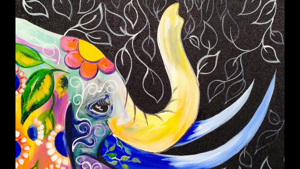 Great Painting Ideas Bohemian Elephant Easy Acrylic Painting For Beginners Youtube