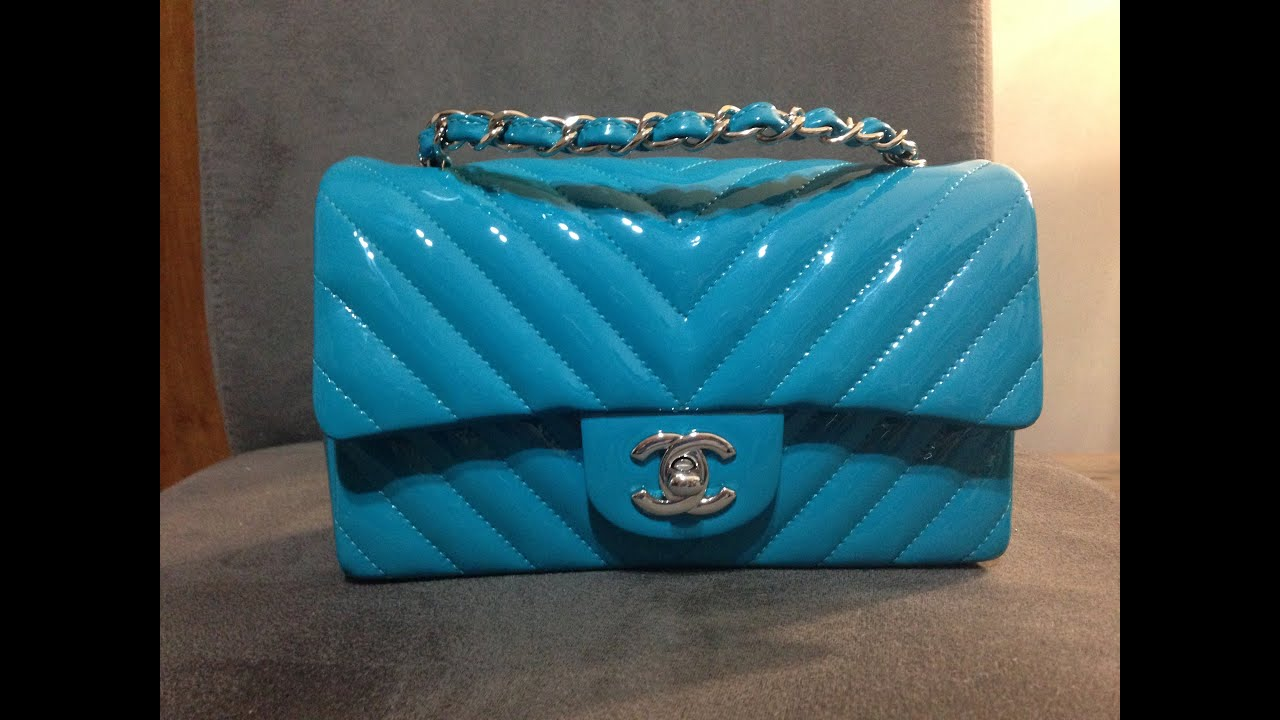 1cd6151d1596 Review of my Chanel mini flap in Turquoise Patent Leather - YouTube